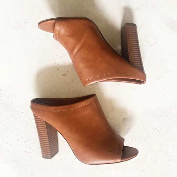 de0e80c26fb Open toe brown mules chunky heel. M 5a47cf2846aa7c3fbd15ff26. Other Shoes  you may like. Pumps